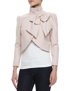 Addison Bow Cropped Jacket in Pink
