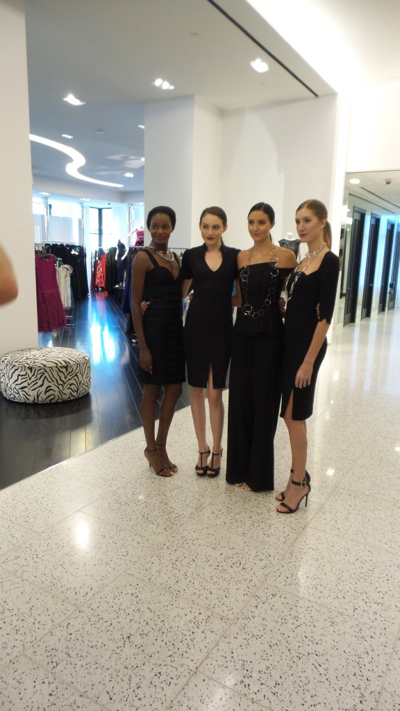 Black Halo models showcasing how to rock the little black dress